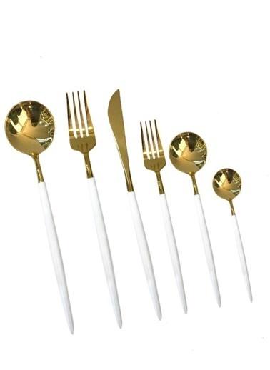 Sembol Beyaz Parlak Altın 36 Parça Çatal Kaşık Bıçak Seti Renkli